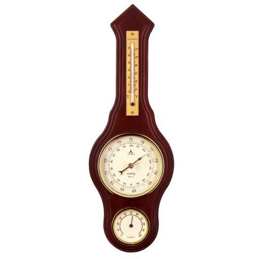 Astron fa falióra barométer, hőmérővel, páratartalom mérővel, barna színű