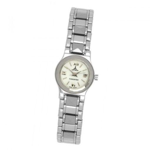 ASTRON 5025-1 női karóra, ezüst színű kerámia tok, ezüst színű kerámia csat, fehér számlap, keményített ásványüveg, quartz szerkezet, cseppmentes vízállóság