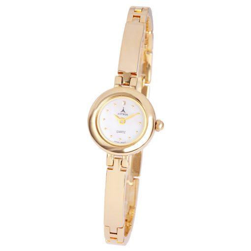 ASTRON 5031-5 női karóra, ékszeróra, arany színű fém tok, arany színű fémcsat, gyöngyház színű számlap, keményített ásványüveg, quartz szerkezet, cseppmentes vízállóság