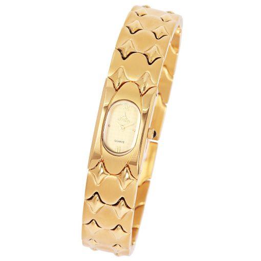 ASTRON 5046-9 női karóra, arany színű nemesacél tok, arany színű nemesacél csat, római számos arany színű számlap, keményített ásványüveg, quartz szerkezet, cseppmentes vízállóság