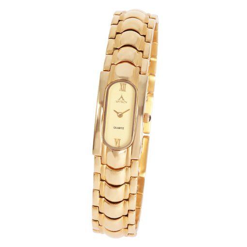 ASTRON 5048-9 női karóra, arany színű nemesacél tok, arany színű nemesacél csat, arany színű számlap, keményített ásványüveg, quartz szerkezet, cseppmentes vízállóság