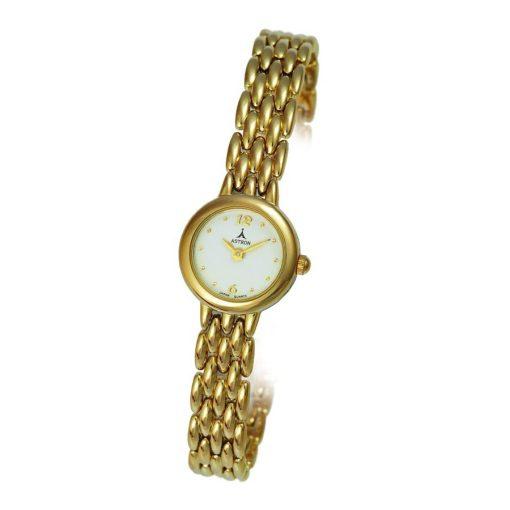 ASTRON 5056-7 női karóra, arany színű fém tok, arany színű fémcsat, fehér számlap, keményített ásványüveg, quartz szerkezet, cseppmentes vízállóság