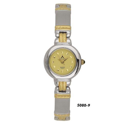 ASTRON 5080-9 női karóra, ezüst színű fém tok, bicolor fémcsat, arany színű számlap, keményített ásványüveg, quartz szerkezet, cseppmentes vízállóság