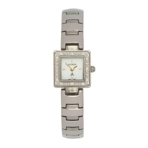 ASTRON 5113-7 analóg női karóra, ezüst színű fém tok, ezüst színű fém szíj/csat, fehér számlap, keményített ásványüveg, quartz szerkezet, cseppmentes vízállóság