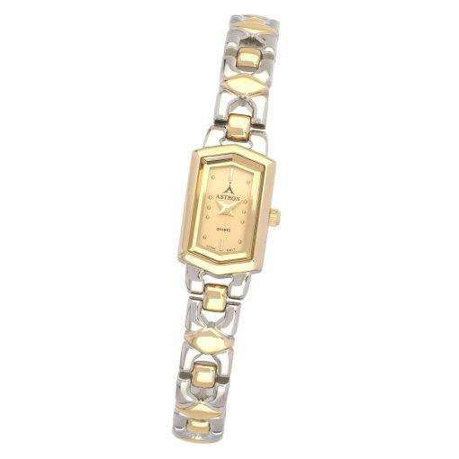 ASTRON 5123-9 női karóra, bicolor fém tok, bicolor fémcsat, arany színű számlap, keményített ásványüveg, quartz szerkezet, cseppmentes vízállóság