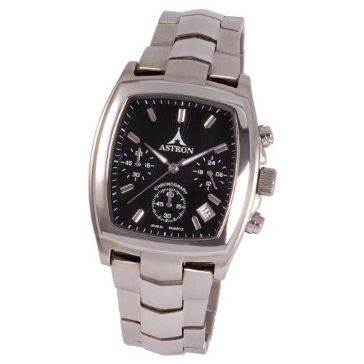 Astron férfi chronograph karóra, ezüst színű tok és csat, fekete számlap