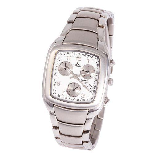 ASTRON 5145-7 férfi karóra, ezüst színű nemesacél tok, ezüst színű nemesacél csat, fehér számlap, zafír, quartz szerkezet, 50 m (5 ATM) vízállóság