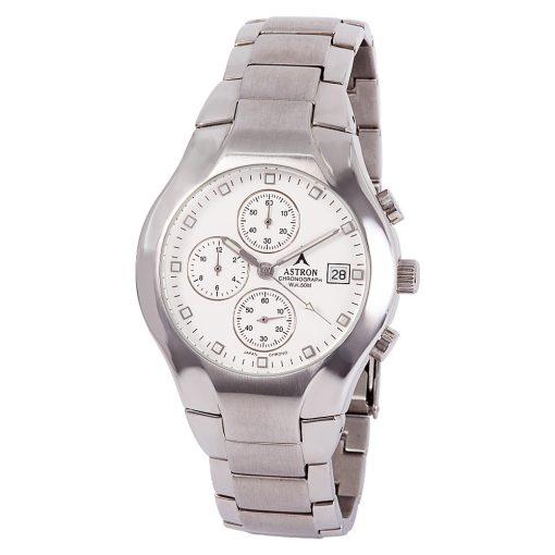 ASTRON 5146-8 férfi karóra, ezüst színű nemesacél tok, ezüst színű nemesacél csat, fehér számlap, keményített ásványüveg, chronograph quartz szerkezet, 50 m (5 ATM) vízállóság