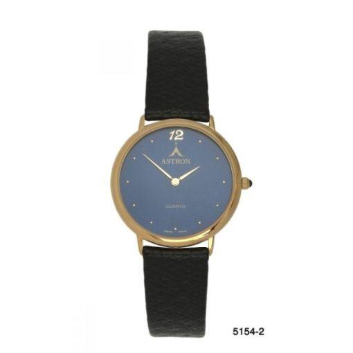 ASTRON 5154-2 unisex karóra, arany színű fém tok, fekete bőrszíj, kék számlap, keményített ásványüveg, quartz szerkezet, cseppmentes vízállóság