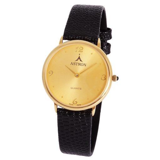 ASTRON 5156-9 női karóra, arany színű fém tok, fekete bőrszíj, arany színű számlap, keményített ásványüveg, quartz szerkezet, cseppmentes vízállóság