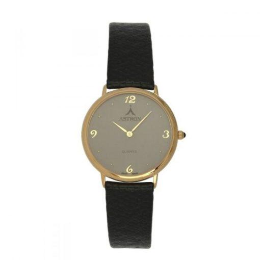 ASTRON 5157-8 női karóra, arany színű fém tok, fekete bőrszíj, szürke számlap, keményített ásványüveg, quartz szerkezet, cseppmentes vízállóság