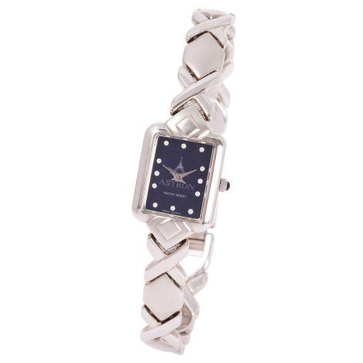 ASTRON 5160-2 analóg női karóra, ezüst színű rézötvözet tok, ezüst színű rézötvözet szíj/csat, kék számlap, keményített ásványüveg, quartz szerkezet, cseppmentes vízállóság