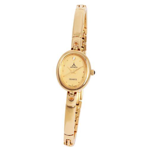 ASTRON 5165-9 női karóra, arany színű nemesacél tok, arany színű fémcsat, arany színű számlap, keményített ásványüveg, quartz szerkezet, cseppmentes vízállóság