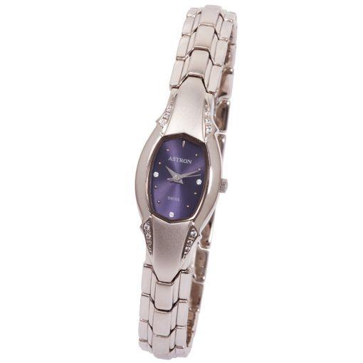 ASTRON 5191-2 női karóra, ékszeróra, ezüst színű nemesacél tok, ezüst színű fémcsat, kék számlap, keményített ásványüveg, quartz szerkezet, cseppmentes vízállóság