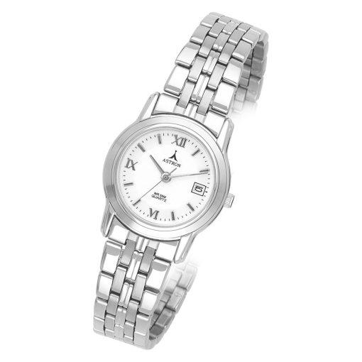 ASTRON 5203-7 női karóra, ezüst színű fém tok, ezüst színű fémcsat, római számos fehér számlap, keményített ásványüveg, quartz szerkezet, 50 m (5 ATM) vízállóság