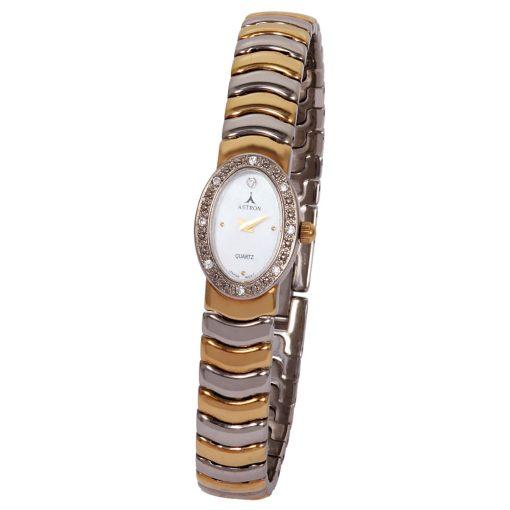 ASTRON 5243-4 női karóra, ékszeróra, bicolor fém tok, bicolor fémcsat, gyöngyház színű számlap, keményített ásványüveg, quartz szerkezet, cseppmentes vízállóság