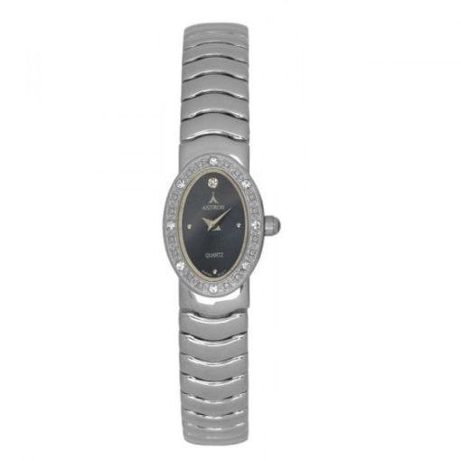 ASTRON 5244-2 női karóra, ezüst színű fém tok, ezüst színű fémcsat, fekete számlap, keményített ásványüveg, quartz szerkezet, cseppmentes vízállóság