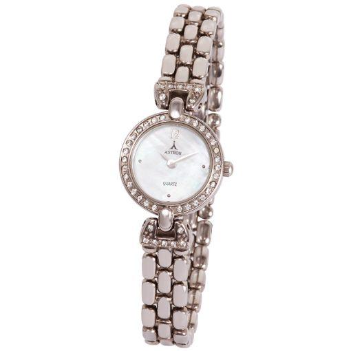 ASTRON 5253-7 női karóra, ékszeróra, ezüst színű fém tok, ezüst színű fémcsat, gyöngyház színű számlap, keményített ásványüveg, quartz szerkezet, cseppmentes vízállóság