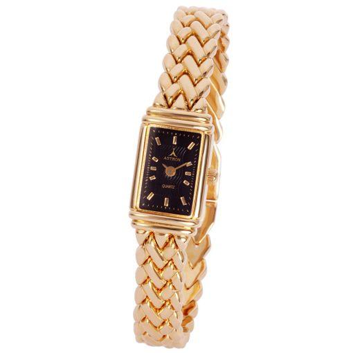 ASTRON 5255-1 női karóra, arany színű fém tok, arany színű fémcsat, fekete számlap, keményített ásványüveg, quartz szerkezet, cseppmentes vízállóság