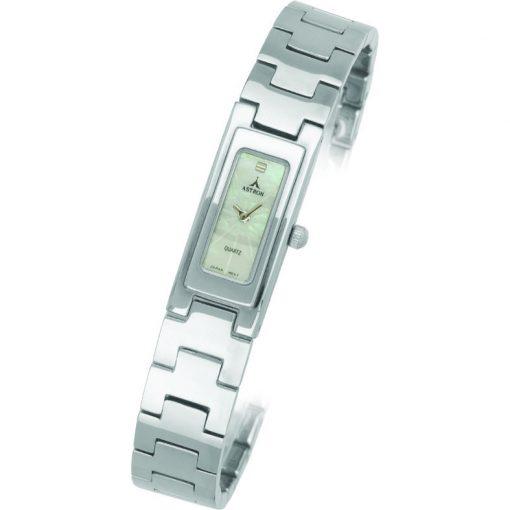 ASTRON 5256-7 analóg női karóra, ezüst színű fém tok, ezüst színű fém szíj/csat, fehér számlap, keményített ásványüveg, quartz szerkezet, cseppmentes vízállóság