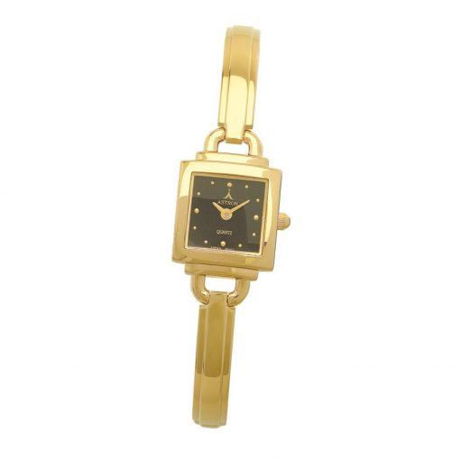 ASTRON 5258-1 női karóra, arany színű fém tok, arany színű fémcsat, fekete számlap, keményített ásványüveg, quartz szerkezet, cseppmentes vízállóság
