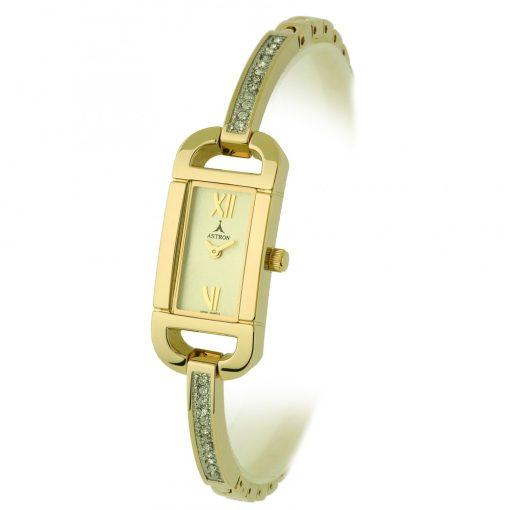 ASTRON 5430-9 női karóra, arany színű fém tok, arany színű fémcsat, pezsgőszínű számlap, keményített ásványüveg, quartz szerkezet, cseppmentes vízállóság