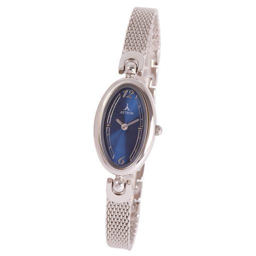 ASTRON 5456-2 analóg női karóra, ezüst színű rézötvözet tok, ezüst színű rézötvözet szíj/csat, kék számlap, keményített ásványüveg, quartz szerkezet, cseppmentes vízállóság