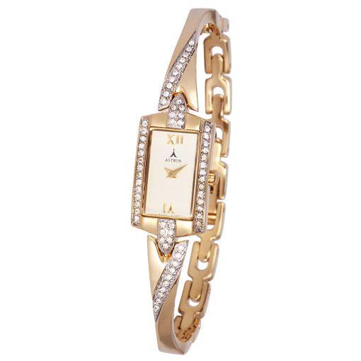 ASTRON 5482-9 női karóra, ékszeróra, arany színű fém tok, arany színű fémcsat, pezsgőszínű számlap, keményített ásványüveg, quartz szerkezet, cseppmentes vízállóság