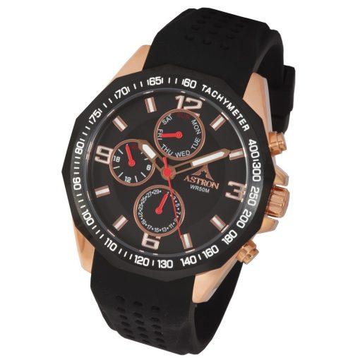 ASTRON 5533-0 férfi karóra, rózsaarany színű nemesacél tok, fekete szilikon szíj, fekete számlap, keményített ásványüveg, quartz szerkezet, 50 m (5 ATM) vízállóság