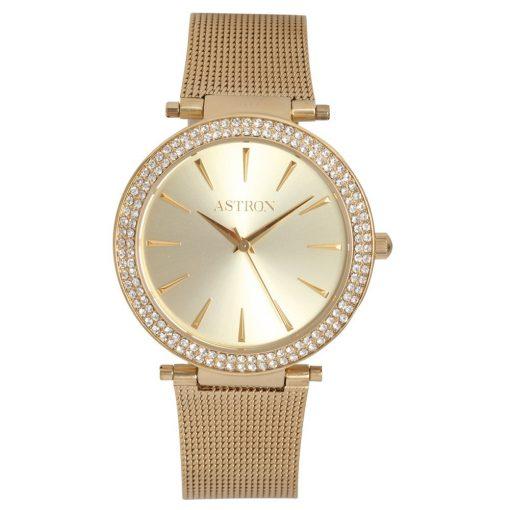 ASTRON 5535-9 női karóra, arany színű nemesacél tok, arany színű nemesacél csat, pezsgőszínű számlap, keményített ásványüveg, quartz szerkezet, cseppmentes vízállóság