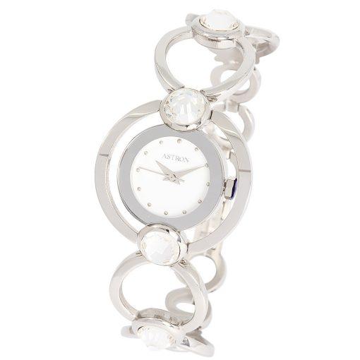 ASTRON 5543-7 női karóra, ezüst színű nemesacél tok, ezüst színű nemesacél csat, fehér számlap, keményített ásványüveg, quartz szerkezet, cseppmentes vízállóság
