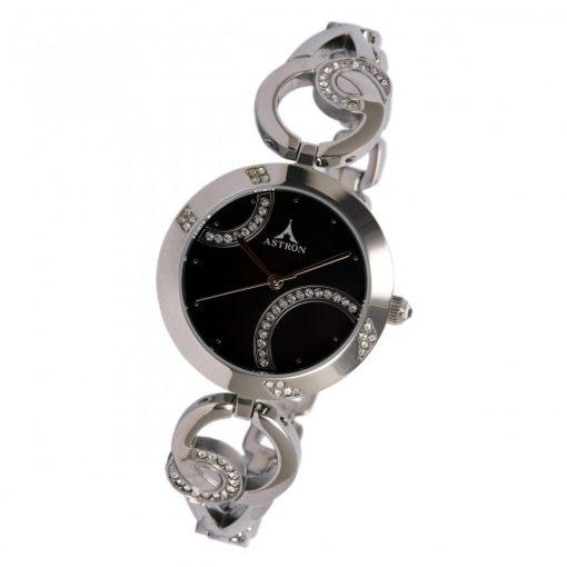 ASTRON 5586-1 női karóra, ezüst színű nemesacél tok, ezüst színű nemesacél csat, fekete számlap, keményített ásványüveg, quartz szerkezet, cseppmentes vízállóság