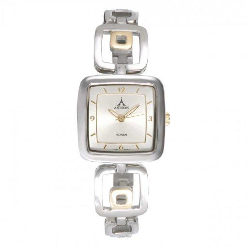 ASTRON 5595-9 női karóra, bicolor színű titánium tok, bicolor titánium csat, pezsgőszínű számlap, keményített ásványüveg, quartz szerkezet, 50 m (5 ATM) vízállóság