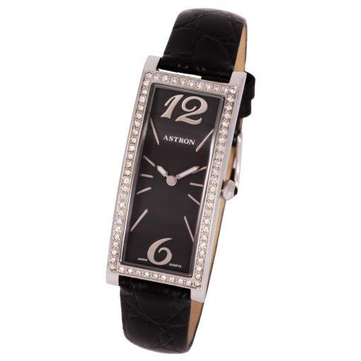 ASTRON 5637-1 női karóra, ezüst színű nemesacél tok, fekete bőrszíj, fekete számlap, keményített ásványüveg, quartz szerkezet, cseppmentes vízállóság