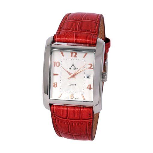 ASTRON 5641-7 unisex karóra, ezüst színű nemesacél tok, piros bőrszíj, ezüst színű számlap, keményített ásványüveg, quartz szerkezet, cseppmentes vízállóság