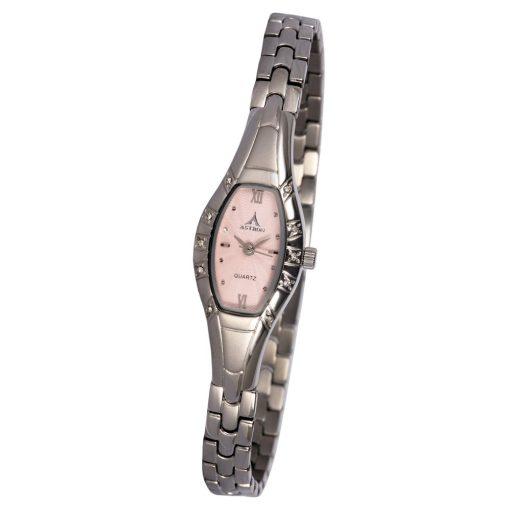 ASTRON 5709-6 analóg női karóra, ezüst színű nemesacél tok, ezüst színű fém szíj/csat, rózsaszín számlap, keményített ásványüveg, quartz szerkezet, cseppmentes vízállóság