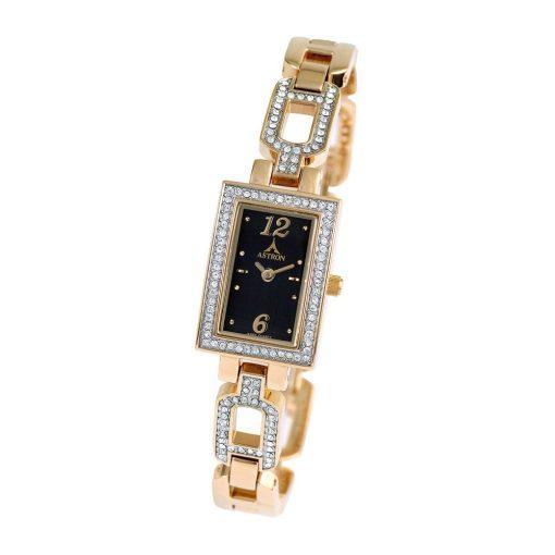 ASTRON 5724-0 női karóra, arany színű fém tok, arany színű fémcsat, fekete számlap, keményített ásványüveg, quartz szerkezet, cseppmentes vízállóság