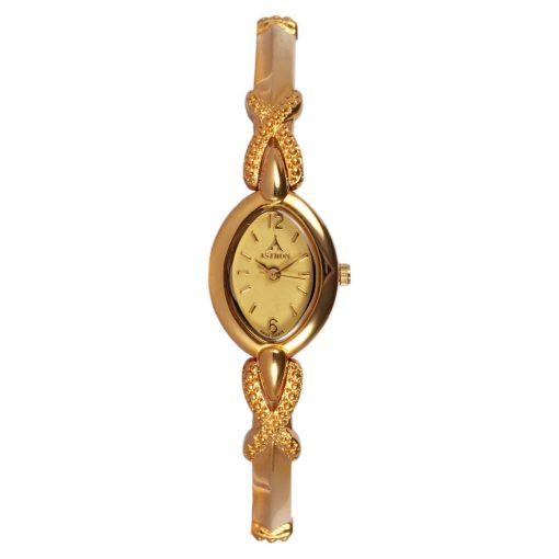 ASTRON 5728-9 női karóra, arany színű fém tok, arany színű fémcsat, pezsgőszínű számlap, keményített ásványüveg, quartz szerkezet, cseppmentes vízállóság