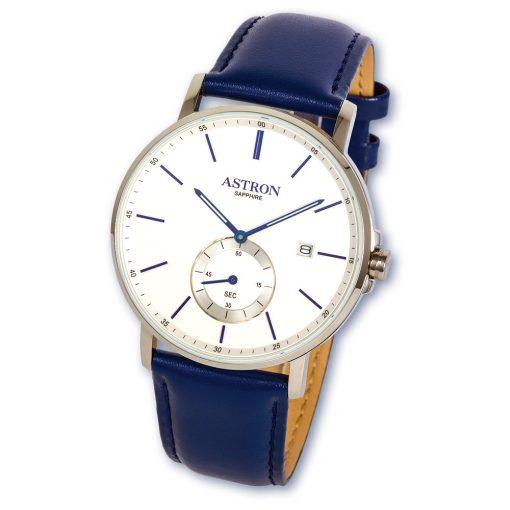 ASTRON 8002-7 elegáns férfi karóra, ezüst színű nemesacél tok, kék bőrszíj, fehér számlap, zafírüveg, quartz szerkezet, cseppmentes vízállóság