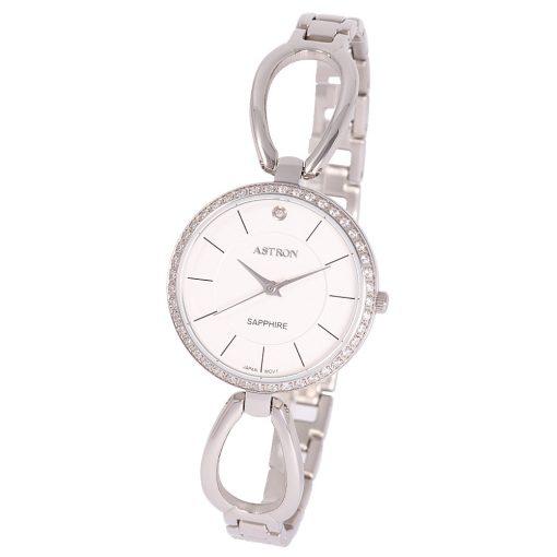 ASTRON 8007-8 analóg divat|női karóra, ezüst színű nemesacél tok, ezüst színű nemesacél szíj/csat, fehér számlap, zafír, quartz szerkezet, cseppmentes vízállóság