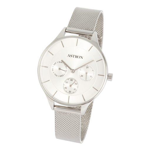 ASTRON 8015-8 elegáns női karóra, ezüst színű nemesacél tok, ezüst színű nemesacél csat, ezüst színű számlap, keményített ásványüveg, multifunkciós quartz szerkezet, cseppmentes vízállóság